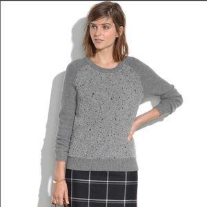 Madewell Boucle Panel Sweater Grey, Medium. Cozy.